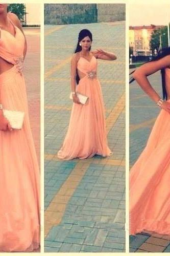 High Quality Prom Dress,A-Line Prom Dress,Chiffon Prom Dress,Sexy Backless Prom Dress, Beading Prom Dress