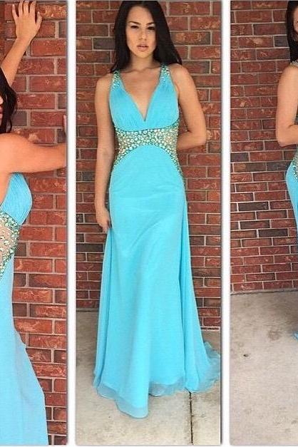 High Quality Prom Dress,V-Neck Prom Dress,Beading Prom Dress,Backless Prom Dress, Charming Prom Dress
