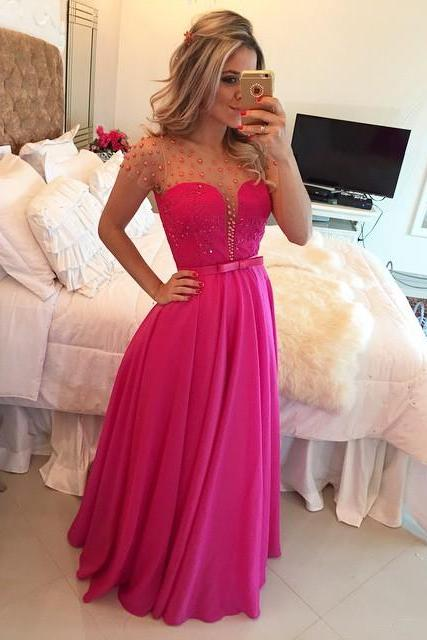 Prom Dress, Short Sleeve Prom Dress, Pearls Prom Dress, Illusion Back Prom Dress, A-line Prom Dress, Fuchsia Prom Dress, Long Evening Dress, Floor-length Party Dress, Ball Dress