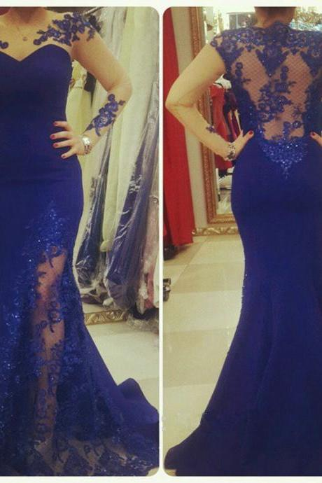 2017 Custom Made Evening Dress,Sheer Neckline Evening Dress,Long Sleeves Mermaid Prom Dress with Lace Appliques