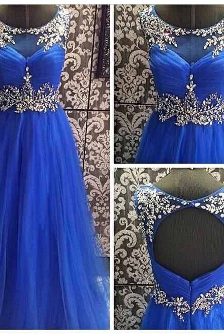 2017 Custom Made Royal Blue Prom Dress,Beading Party Dress,Chiffon Sleeveless Evening Dress,Floor Length Prom Dress