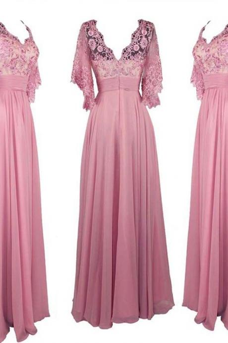 2017 Custom Made Pink Chiffon Prom Dress,Sexy V-Neck Lace Evening Dress, Floor Length Beaded Party Dress