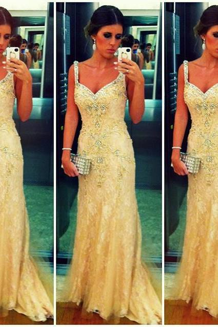 2017 Custom Charming Yellow Lace Prom Dress,Beading Crystals Evening Dress, Spaghetti Straps Prom Dress,Bodice Party Dress,High Quality