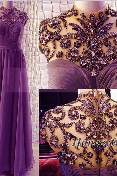 Prom Dress,High Neck Prom Dress, Beaded Prom Dress,New Arrival Purple Prom Gown,Heavy-Rhinestone Prom Dress,Custom Prom Dress
