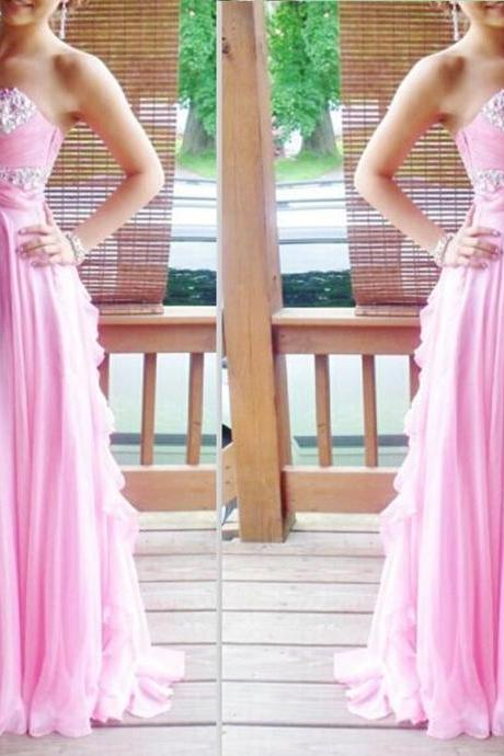 2017 Custom Made Prom Dress,Sequin Prom Dress,Pink Prom Dress,Pretty Prom Dress,Elegant Prom Dress,Long Prom Dress,Chiffon Prom Dress,Popular Prom Dress