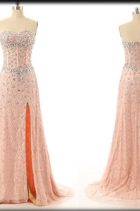 Beaded Embellished Lace Sweetheart Floor Length A-Line Formal Dress Featuring Slit, Prom Dress