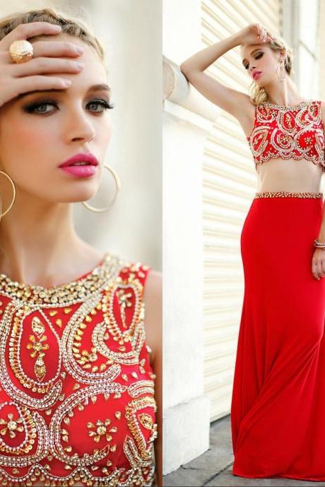 Prom Dresses, Two Piece Prom Dress,Mermaid Prom Dress,Gold Prom Dress,Sequin Prom Dress,Beaded Prom Dress,Satin Prom Dress,Long Prom Dress,Red Prom Dress,Dress For Prom,Party Dress