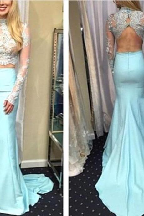2017 Custom Made Two Pieces Prom Dress,Sexy See Through Lace Evening Dress,Mermaid High Neck Prom Dress,Backless Party Dress