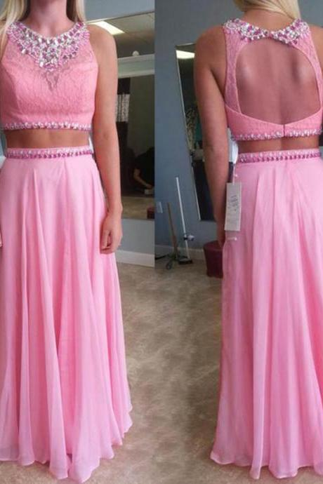 2017 Custom Made Pink Chiffon Prom Dress,Two Pieces Evening Dress,Floor Length Party Dress,High Quality