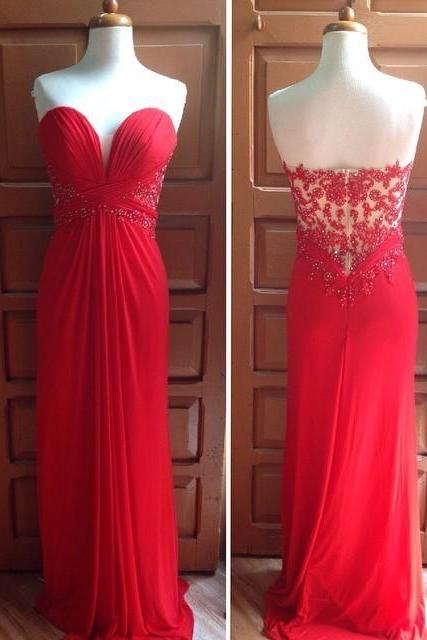 2017 Custom Made Red Chiffon Prom Dress,Sexy Sweetheart Beading Evening Dress,Floor Length Party Dress,High Quality