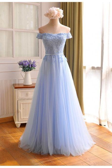 2017 Custom Made Baby Blue Chiffon Prom Dress,Sexy Appliques Off The Shoulder Evening Dress,Floor Length Party Dress,High Quality