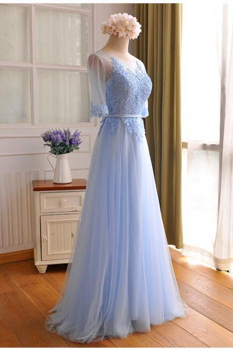 2017 Custom Made Baby Blue Chiffon Prom Dress,Sexy Middle Sleeves Evening Dress,Appliques Floor Length Party Dress,High Quality