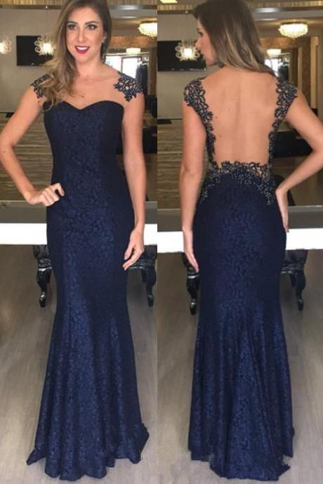 2017 Custom Made Navy Blue Lace Prom Dress,Sexy Backless Evening Dress,Floor Length Party Dress,High Quality