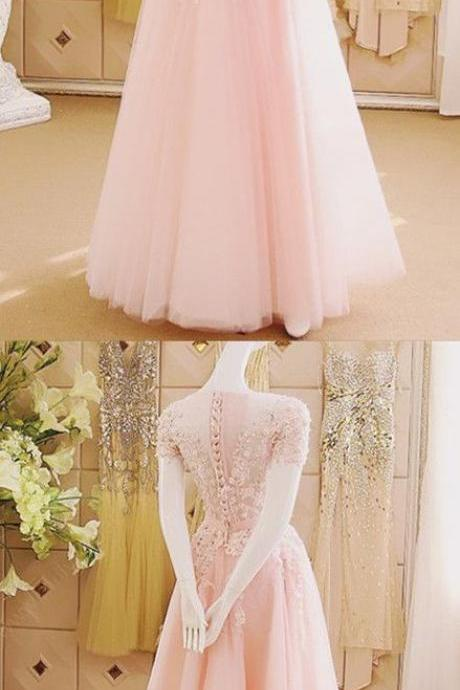 2017 Custom Made Pink Appliques Prom Dress,Sexy Off The Shoulder Evening Dress,Floor Length Party Dress,High Quality