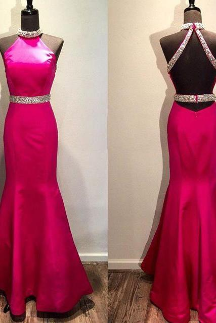2017 Custom Made Rosy Prom Dress,Sexy Halter Evening Dress,Mermaid Party Dress,Floor Length Prom Dress,High Quality