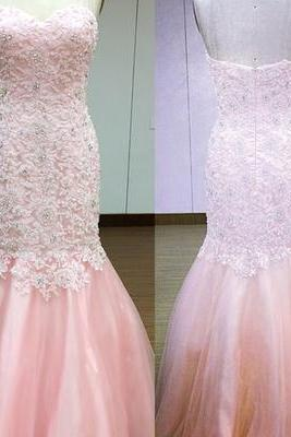 2017 Custom Made Pink Prom Dress,Sexy Sweetheart Evening Dress,Lace Applliques Beaded Party Dress ,Floor Length Prom Dress,High Quality