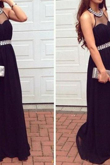 2017 Custom Made Black Prom Dress,Sexy Halter Evening Dress,Sleeveless Party Dress ,Floor Length Prom Dress,High Quality