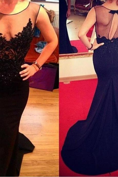 2017 Custom Made Black Prom Dress,Sexy See Through Evening Dress,Sleeveless Party Dress ,Appliques Beaded Prom Dress,High Quality