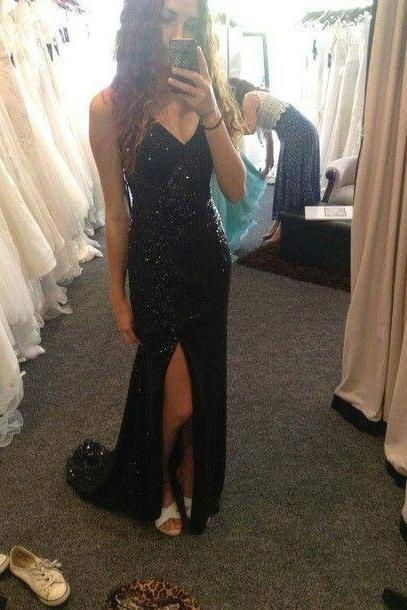 2017 Custom Made Black Prom Dress,Sexy Spaghetti Straps Evening Dress,V-Neck Party Dress ,Side Slit Prom Dress,High Quality