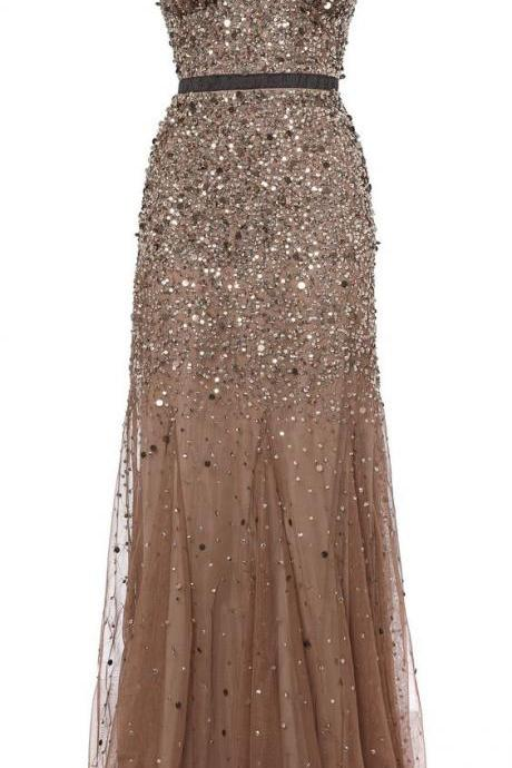 2017 Custom Made Gold Sequined Prom Dress,Spaghetti Straps Evening Dress,Chiffon Party Dress,Sleeveless Prom Dress,High Quality