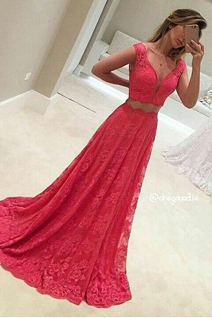 2017 Custom Made Two Pieces Prom Dress,Sleeveless Evening Dress,V-Neck Party Dress,Sleeveless Prom Dress,High Quality