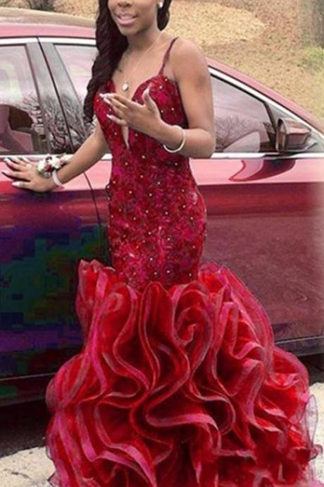 2017 Custom Made Red Prom Dress,Spaghetti Straps Evening Dress,Sleeveless Beading Party Dress,Hands made Flowers Prom Dress,High Quality