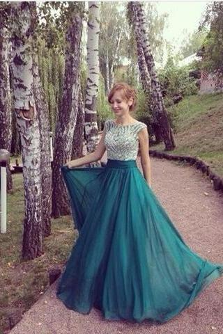 2017 Custom Made Emerald Green Long Evening Dresses, 2017, New Arrival, Elegant Sexy, Cap Sleeve, Beaded, Chiffon Formal Prom Dresses ,High Quality