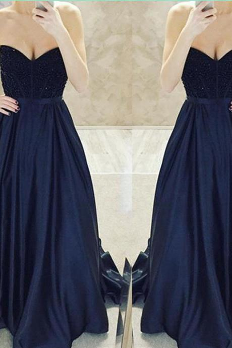 2017 Custom Made Black Prom Dress, Beaded Sweetheart Evening Dress,Sexy Strapless Sleeveless Party Dress,High Quality