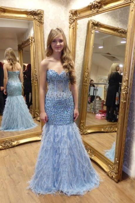 Sexy Sweetheart Light Blue Feathers Mermaid Prom Dresses 2016 Long Beaded Crystal vestidos de fiesta Formal Gowns