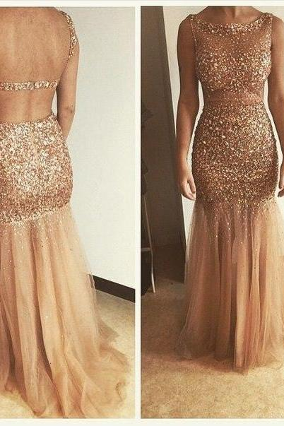 Crystal Evening Dresses, Beading Prom Dresses, Mermaid Party Dress, Long Formal Dress,Mermaid Cocktail Dress,Mermaid Homecoming Dress,Champagne Party Dresses,Backless Party Dress