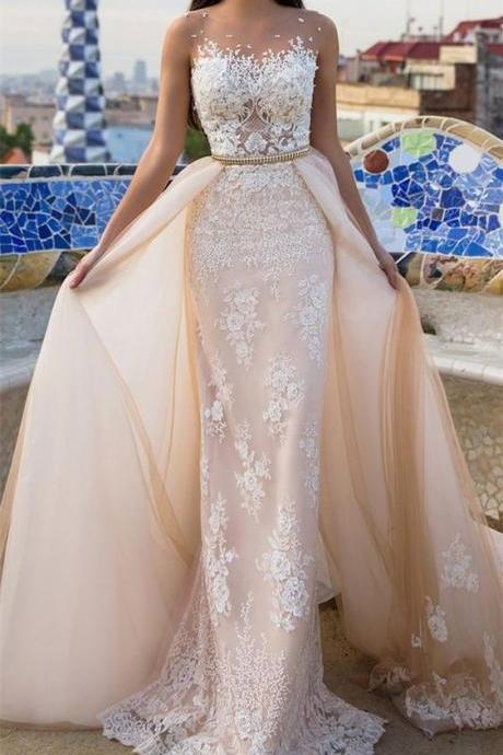 2017 Custom Made Champagne Chiffon Wedding Dress,Lace Appliques See Through Bridal Dress,Chiffon Detachable Wedding Dress,High Quality