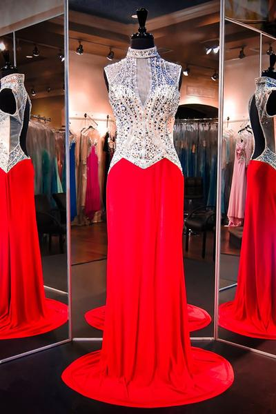 High Neck Sleeveless Prom Dress,Red Evening Dresses, Prom Dresses With Beading