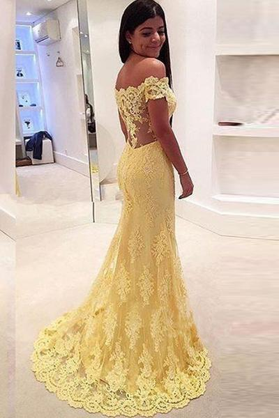 Off-the-Shoulder Prom Dress,Mermaid Lace Evening Dress,Court Train Prom Dresses,High Quality