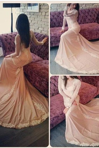 Prom Dress,Long sleeve prom dress, lace prom dress, long evening dress, gorgeous prom dress, unique prom dress, Plus Size Evening Dress, Celebrity Dress,Elegant Evening Dress,Party Dress,Wedding Guest Prom Gowns, Formal Occasion Dresses,Formal Dress
