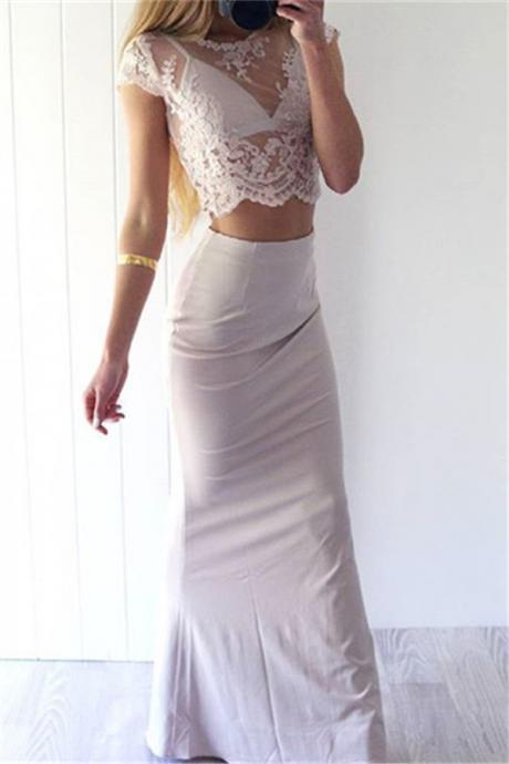 b6124a78c44db1 Charming Sexy Prom Dresses,White Lace Evening Gowns,Mermaid Party Dresses,2  pieces