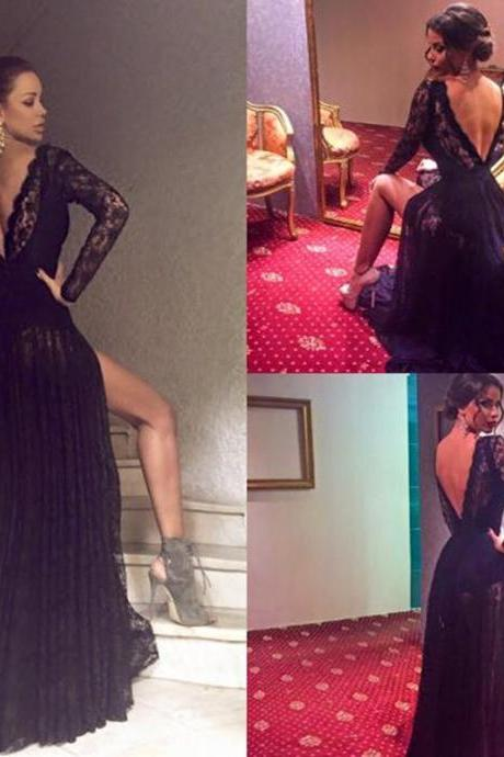 Prom Dress,Long Prom Dress Black All Over Lace A-Line Full Sleeves Open Back Sweep Train Prom Dresses 2016 Vestidos,Custom prom dresses, Formal Dresses, High Quality Party Dresses,High Quality Graduation Dress,Wedding Guest Dress