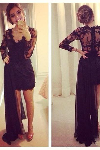 New Charming Prom Dress,Long Sleeve black Prom Dress,Sexy v neck Chiffon Prom Dress,Evening Formal Dress, Sexy Backless Prom Dresses , prom Gowns Plus Size, Cocktail Dresses, formal dresses,Wedding guests dresses