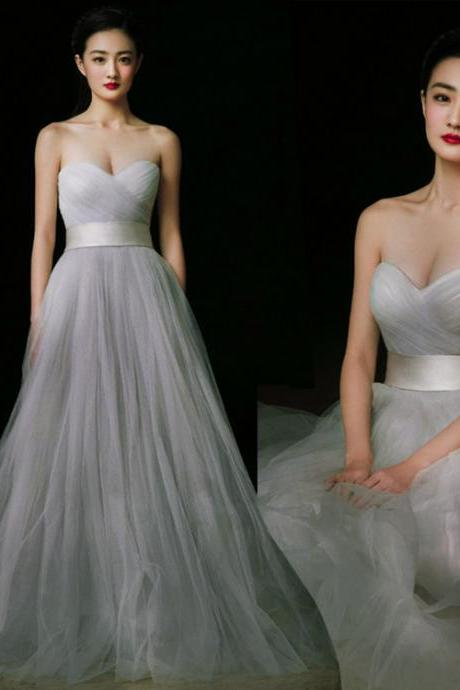 Charming Prom Dress,Grey Prom Dress,Tulle prom dress,Strapless Prom Dress,Sweetheart neck Prom Dress,sexy prom dress,prom dress 2016