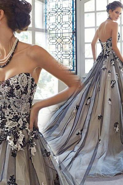 Charming Prom Dress,A-Line Prom Dress,applique prom dress,Tulle Prom Dress,Lace Prom Dress,sexy prom dress,prom dress 2016