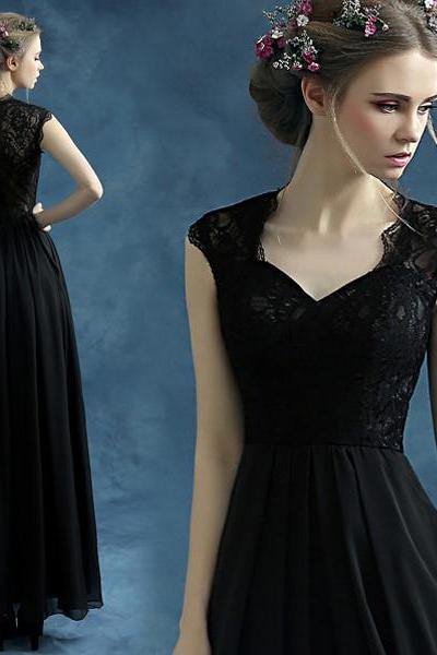 Charming Prom Dress,2016 A-Line Prom Dress,Chiffon Prom Dress,Lace Prom Dress,Black prom dress,prom dress 2016
