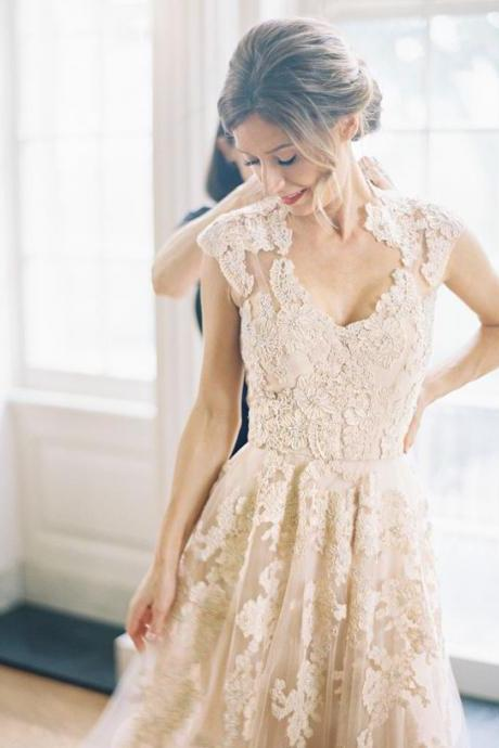 Charming Wedding Dress, A-line Wedding Dress, V neckline Wedding Dress, Champagne Wedding Dress, Lace Wedding Dress, Long Wedding Dress,Vintage Lace Wedding Dress