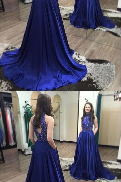 Royal Blue Prom Dresses,Sexy Prom Dresses,Sleeveless Evening Dresses,Beaded Prom Gowns,Court Train Prom Dresses,Royal Blue Pageant Dress,Prom Dress with Beadings,Prom Dresses
