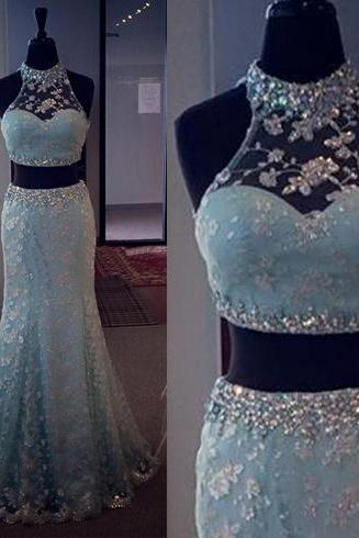 Blue Prom Dress, Beautiful Prom Dress, Two Piece Prom Dress, Lace Prom Dress, Sleeveless Prom Dress, Elegant Prom Dress