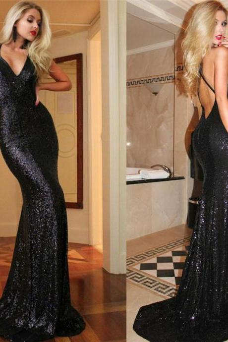 Sexy Backless Prom Dress,Black Prom Dresses,Long Prom Dresses,Mermaid Evening Dresses,Elegant Sequin Formal Dresses,Sequins Prom Dress,Prom Dress