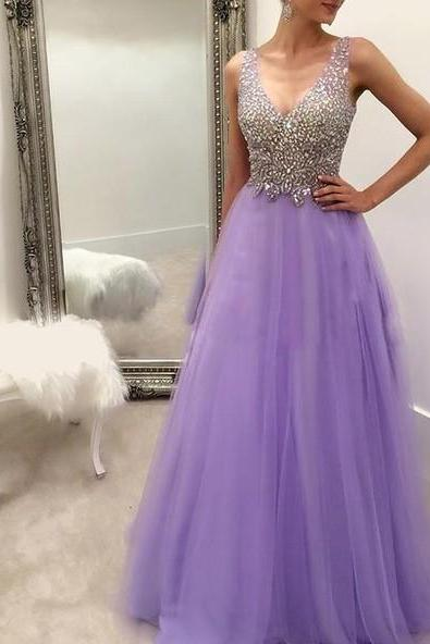 Lavender Long Prom Dresses Party Evening Dress Beading Pleated Back Zipper Floor Length Prom Dress