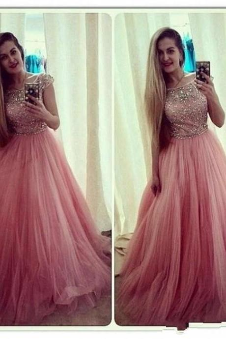 Peach Red Prom Dress, Shiny Beading Top Prom Dress, Cap Sleeves A-Line Prom Dress, Free Custom Made Prom Dress, Fashion Party Dress