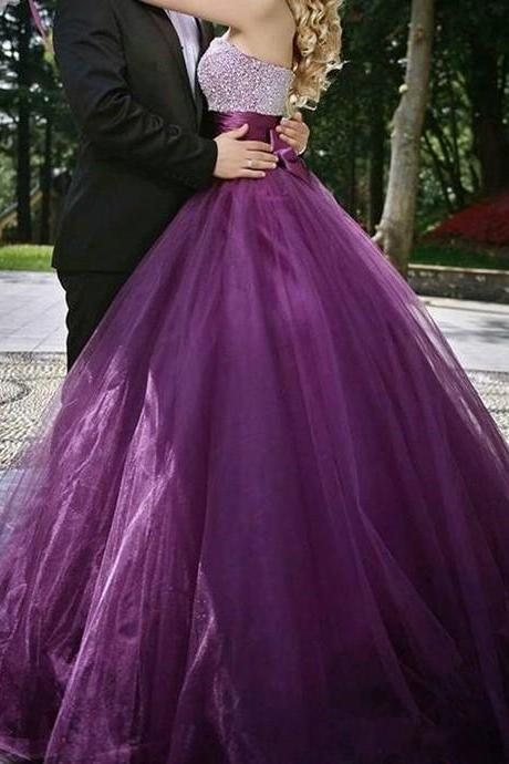 Purple Prom Dress ,Shiny Beading Top Prom Dress , Elegant Bow on Back Prom Dress , Sweetheart Floor Length Long Prom Gown , Fee Custom Made