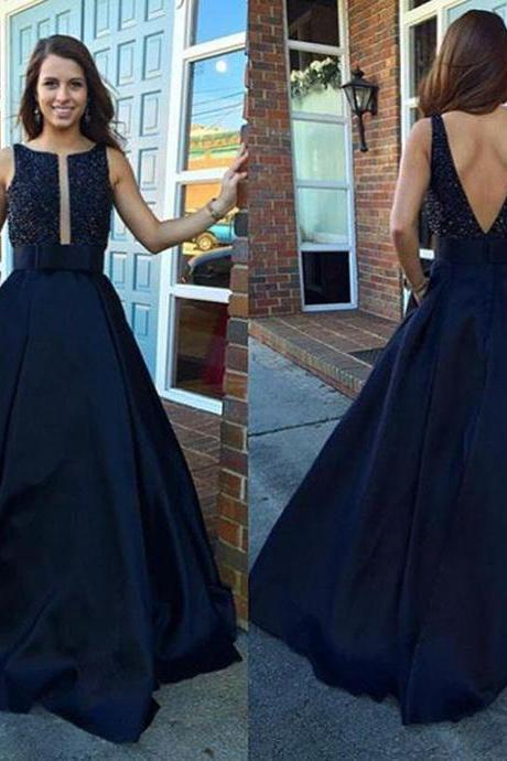 Navy Blue Evening Dresses, Satin Evening Dresses,B Evening Dresses,Evening Gowns,Backless Evening Dress