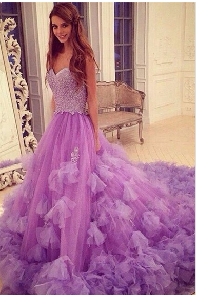 Stylish Sweetheart Court Train Purple Prom Dress with Beading Patchwork