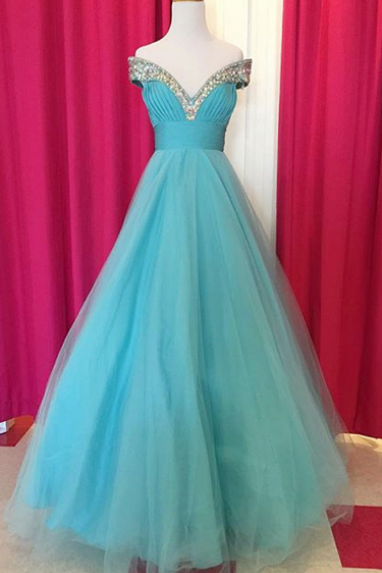 Fabulous Off Shoulder Floor Length Blue Ruched Prom Dress with Beading